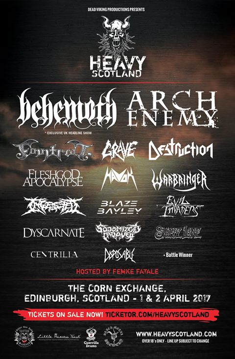 Heavy Scotland poster with full line-up (excluding local battle of the bands winners)