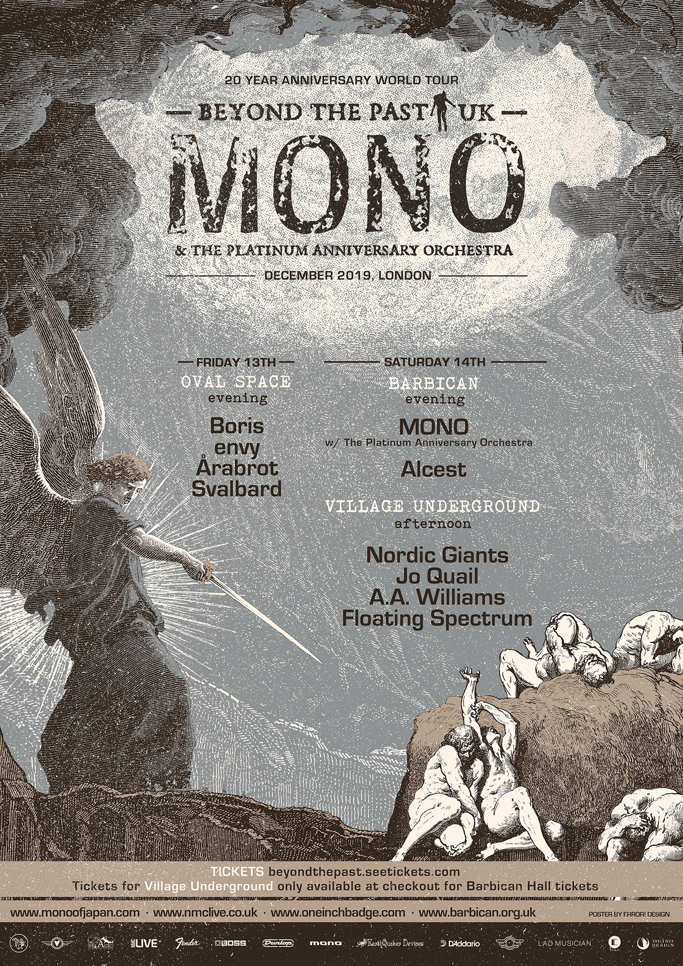 MONO Beyond the Past 20th Anniversary Shows in London featuring MONO (with Orchestra), BORIS, ENVY, ALCEST, NORDIC GIANTS & more
